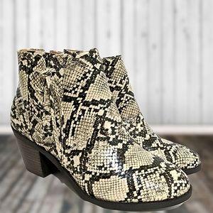 Mata Snakeskin Heel Ankle Booties